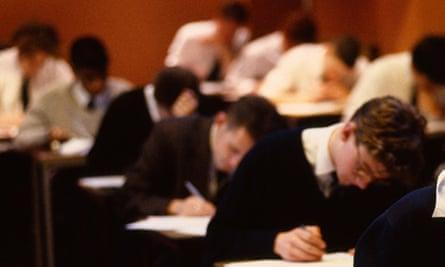 Pupils taking A level exam