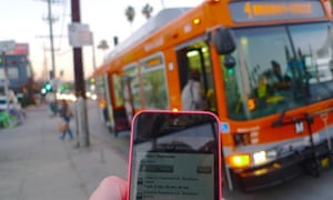 LA bus and mobile