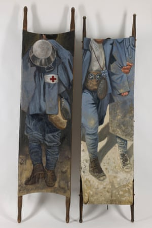 Crossing the Field: WWI, Football & the Christmas Truce Exhibition. Brancards (Stretchers) by Eric Monbel. Hiswork features figures of soldiers painted directly on to the fabric of medical stretchers to show the pain and loss caused by war, with his figurative 'Explosions' series of muddy, barbed-wire scenes also taking on an abstract feel.