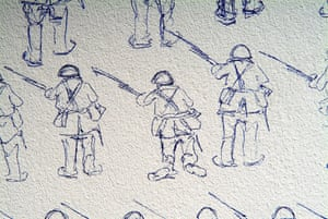Crossing the Field: WWI, Football & the Christmas Truce Exhibition. Mark Anstee became artist-in-residence at the Flanders Field Museum in Ypres, Belgium, Over the next 72 days, he set to work on a 4- metre-square wall, drawing two opposing armies for his piece 'Encounter'. On 3 July, the drawing was completed and 19,386 figures covered the wall. A couple of months later, Anstee returned to delete the work over two days. On the third day, the wall was demolished. The exhibition will feature Gabi Cowburn's film of the whole process.