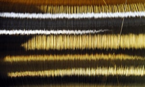 A spool of gold wire is pictured at Austrian gold bullion factory Oegussa on October 8, 2008 in Vienna. Oegussa announced on October 6, 2008 that it has increased its production tenfold, as the global financial crisis pushes investors toward a precious metal seen as a safe haven during economic turmoil. Demand is particularly high for bars of 50 grams to one kilogram since gold is tax free for transactions of less than 15,000 euros (20,000 dollars), Oegussa said. AFP PHOTO/JOE KLAMAR (Photo credit should read JOE KLAMAR/AFP/Getty Images)HORIZONTAL