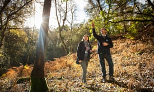 Esther Adley and Richard Gregory on a nature reserve at the RSPB HQ in Sandy, Bedfordshire