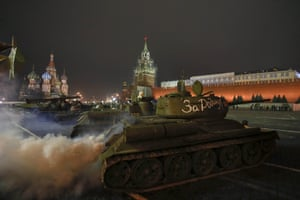 A T-34 Soviet-made tank moves during a rehearsal for a military parade in Moscow's Red Square. The parade will mark the anniversary in 1941, when Soviet soldiers marched through the Red Square towards the front lines of the second world war
