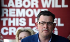 Victorian Labor leader Daniel Andrews and his wife Catherine Andrews speaks to media on Monday.