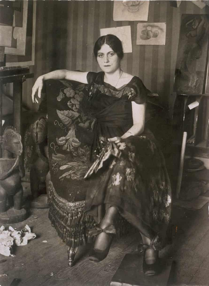 Picasso's first wife, Olga, in his studio in 1917.
