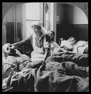 Wounded Belgians in hospital in Antwerp, Belgium, ca. 1918.