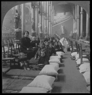Belgian refugees housed at Alexandra Palace, London.