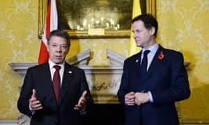 Juan Manuel Santos and Nick Clegg