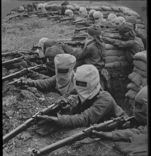 Indian Infantry prepared to meet a Gas Attack in 1915.