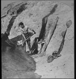 Sappers and miners at work, Ypres salient, Belgium. Digging a tunnel under Hill 60. Hill 60 was a strategically important high point on the southern edge of the Ypres salient that had been captured by the Germans in 1914 as they advanced towards the sea.