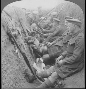 Highland Territorials in trench with mascot dog.