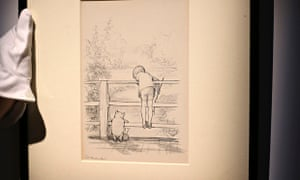 EH Shepard drawing of Winnie the Pooh playing 'Poohsticks' with Piglet and Christopher Robin