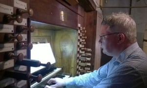 David Trendell playing the organ at Uzès Cathedral, southern France, in July.