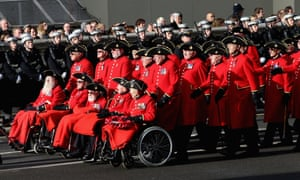 Chelsea Pensioners pay their respects during the 'march past'.