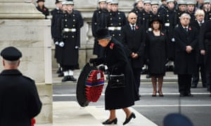 Britain's Queen Elizabeth II lays a wreath at the Cenotaph on Remembrance Sunday in London, Britain, 09 November 2014.