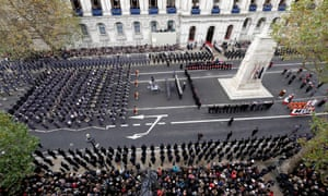 Handout photo issued by the Ministry of Defence of the annual Remembrance Sunday service at the Cenotaph memorial in Whitehall.