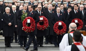David Cameron lays a wreath at the Cenotaph on Remembrance Sunday. He was followed by Liberal Democrat leader Nick Clegg and Labour leader Ed Miliband.