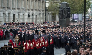 Crowds and veterans gather ahead of the service of remembrance at the Cenotaph.