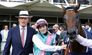 James Doyle with trainer John Gosden and Kingman after winning the Sussex Stakes at Goodwood