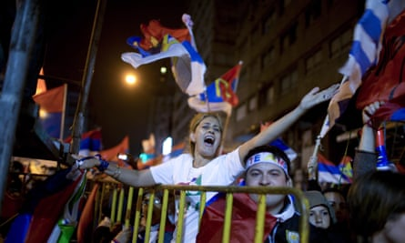 Followers of the ruling Broad Front party celebrate in Montevideo, Uruguay.