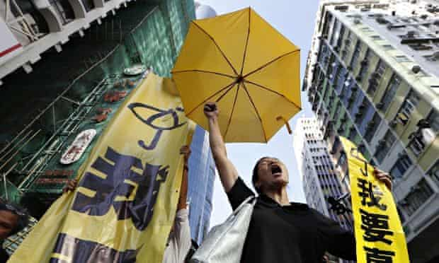 A pro-democracy protester in the Mong Kok district of Hong Kong