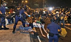 Hong Kong protester police