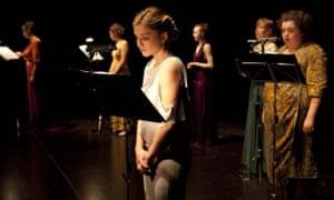 Chorus line … Sirens by Ontroerend Goed. Charlotte De Bruyne, centre: 'I've never said yet I'm a feminist'