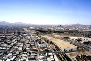 An aerial view of the border between Juarez City, Mexico and El Paso, United States