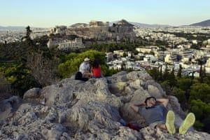 Filipappou hill opposite the Acropolis in Athens, Greece