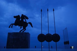 A modern bronze statue of Alexander the Great on his famous horse Bucephalus, in Thessaloniki, Greece