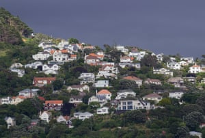 Houses on the hillside above the harbour at Wellington, New Zealand