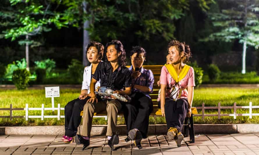 Women in the Kaeson youth park in Pyongyang.