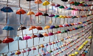 Small paper umbrellas, symbols of the pro-democracy protests in Hong Kong, on display last month. Ph