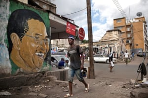 Arusha, Tanzania. A painting of Jakaya Kikwete, the President of Tanzania who was elected in 2005.