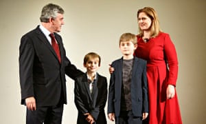 Gordon Brown, his wife Sarah and sons John and Fraser, as the former prime minister announced he was