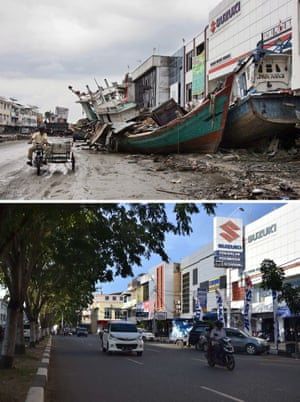 This combo shows a file photo (top) taken on January 8, 2005 of two fishing boats beside a commercial building in Banda Aceh, in Aceh
