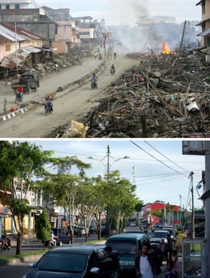 This combo shows a file photo (top) taken on January 9, 2005 of a street cleared but with huge pile of debris on either side, in Meulaboh in Aceh province, located on Indonesia's Sumatra island where surrounding houses and buildings were heavily damaged and coastal villages wiped out in the aftermath of the massive December 26, 2004