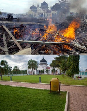 This combo shows a file photo (top) taken on December 30, 2004 of workers burning debris as they clean up downtown Banda Aceh