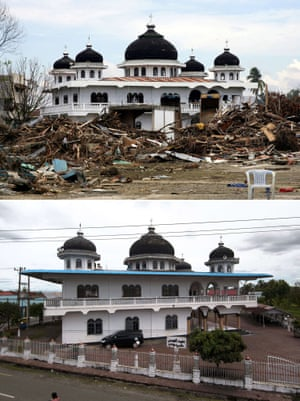 This combo shows a file photo (top) taken on January 15, 2004 of houses surrounding the mosque in Meulaboh destroyed on Indonesia's Sumatra island