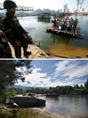 This combo shows a file photo (top) taken on January 23, 2005 of residents using an improvised raft to cross a river as an Indonesian soldier guards the area in Lhoknga in Aceh province,