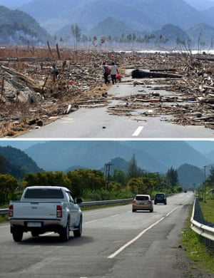 This combo shows a file photo (top) taken on January 9, 2005 of the impassable main coastal road covered with debris in Aceh Besar district,