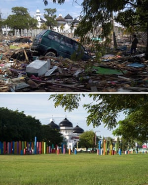 This combo shows a file photo (top) taken on December 27, 2004 of heavy debris spread across the grounds of Banda Aceh's Baiturrahaman mosque in Aceh province, located on Indonesia's Sumatra island where surrounding houses and buildings were heavily damaged
