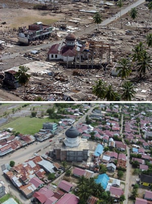 This combo shows a file photo (top) taken on January 2, 2005 of a damaged mosque in Teunom, located in Aceh Jaya district,