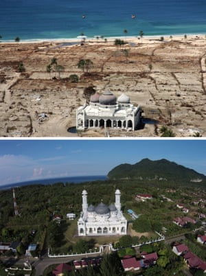 This combo shows a file photo (top) taken with a telephoto lens on January 16, 2005 of a partly damaged mosque in the Lampuuk coastal district of Banda Aceh where surrounding houses were wiped out in the aftermath of the massive December 26, 2004 tsunami trigerred