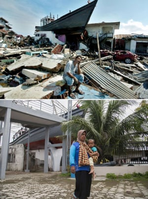 This combo shows a file photo (top) taken on January 15, 2005 of a boat on top of a destroyed house in Banda Aceh, Aceh province, on Indonesia's Sumatra island where surrounding houses and buildings were heavily damaged and coastal villages