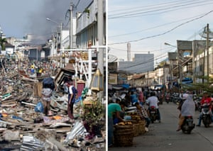 This combo shows a file photo (L) taken on December 29, 2004 of residents walking over huge pile of debris covering the street of Banda Aceh in Aceh province,