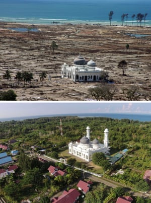 This combo shows a file photo (top) taken with a telephoto lens on January 16, 2005 of a partly damaged mosque in the Lampuuk coastal district of Banda Aceh