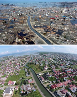 This combo shows a file photo (top) taken on January 5, 2005 of the devastated district of Banda Aceh in Aceh province located on Indonesia's Sumatra island in the aftermath of the massive December 26,