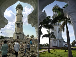 This combo shows a file photo (top) taken on December 28, 2004 of debris scattered across the grounds of Banda Aceh's Baiturrahaman mosque in Aceh province
