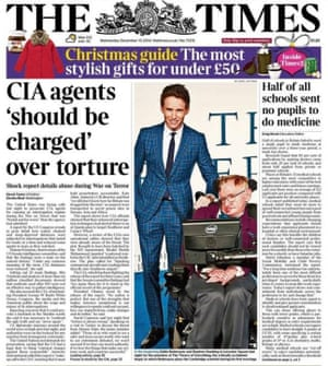Times Front Page - CIA agents 'should be charged' over torture